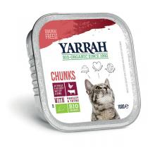 Yarrah - Bouchées pour chat bio barquette Boeuf 100g