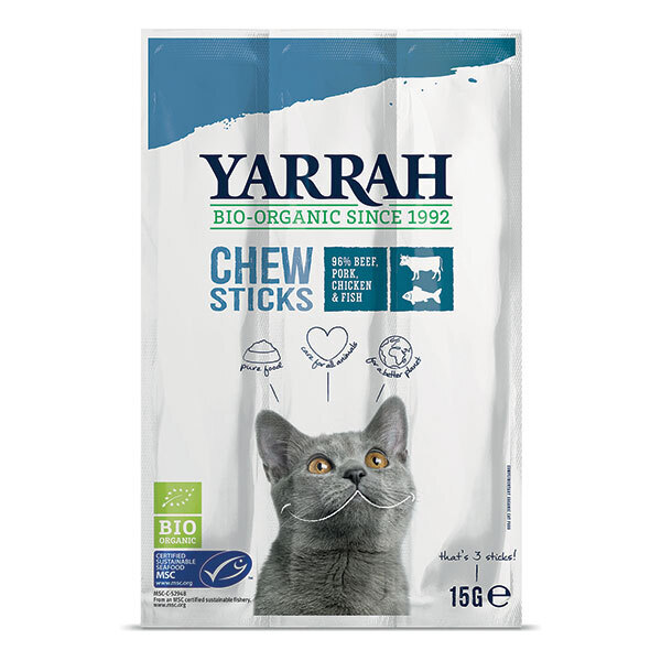 Yarrah - Bâtonnets à mâcher chat Poisson 15g
