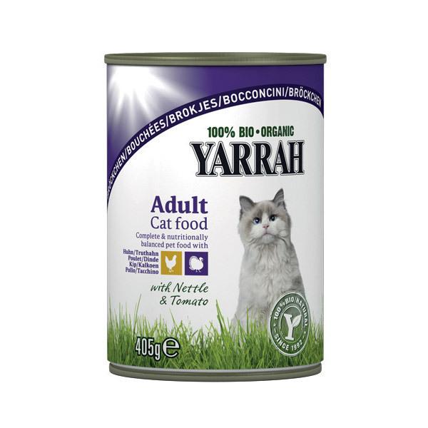 Yarrah - Bouchées pour chat boîte Poulet et Dinde 405g