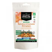 Gourmet Spiruline - Spiruline Biologique et Curcuma - Pot de 180 Comprimés