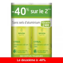 Weleda - Lot de 2 x Déodorant roll-on 24H Citrus - 50 mL