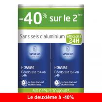 Weleda - Lot de 2 x Duo Déodorant roll-on 24H Homme - 50ml