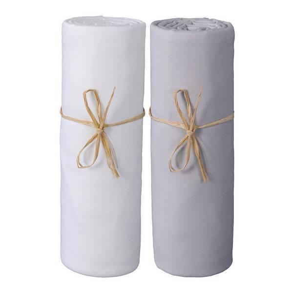P'tit Basile - 2 Draps-housses Jersey Bio 60x120 cm - Blanc & Gris perle