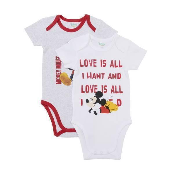 Disney Baby - 2 Bodies Manches Courtes - Gris Mickey - 3 à 36 mois