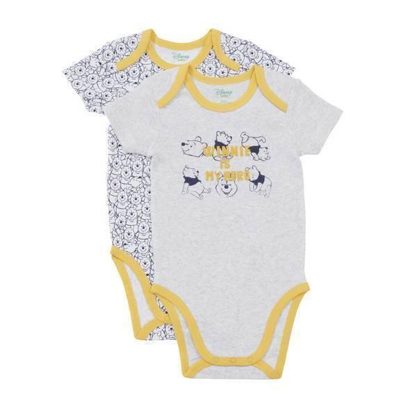 Disney Baby - 2 Bodies Manches Courtes - Gris Winnie - 3 à 36 mois