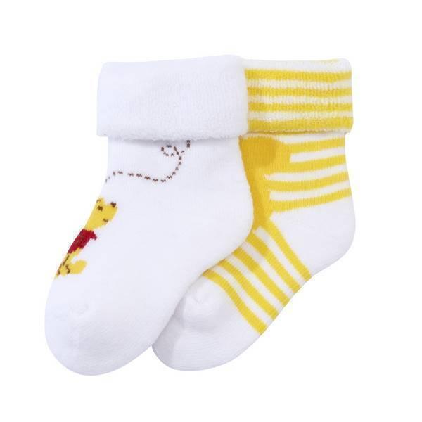 Disney Baby - 2 Paires - Chaussettes jaunes Winnie - 0 à 18 mois