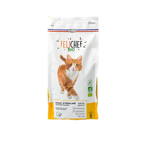Felichef - Croquettes bio sans céréales chat stérilisé 2kg