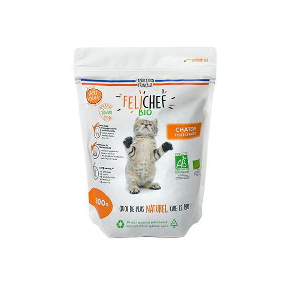 Felichef - Croquettes bio sans céréales chaton 800g