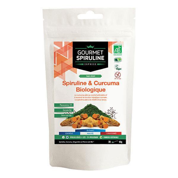 Gourmet Spiruline - Spiruline Biologique et Curcuma en Poudre - Sachet de 90g