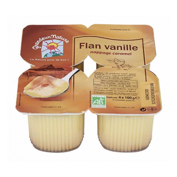 Grandeur Nature - Flan vanille nappage caramel 4x100g