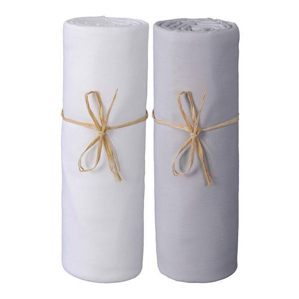 P'tit Basile - 2 Draps-housses Jersey Bio 70x140 cm - Blanc & Gris perle