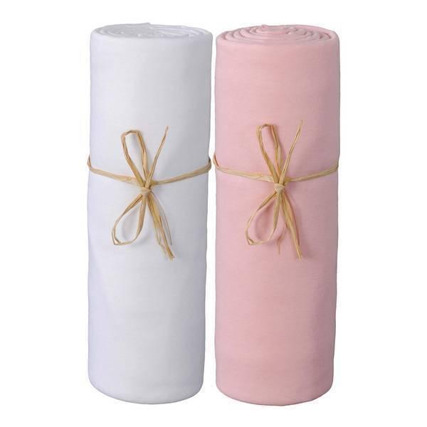 P'tit Basile - 2 Draps-housses Jersey Bio 70x140 cm - Blanc & Rose bonbon
