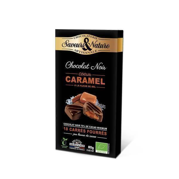 Saveurs & Nature - 18 Carrés fourrés caramel enrobés de chocolat noir 80g
