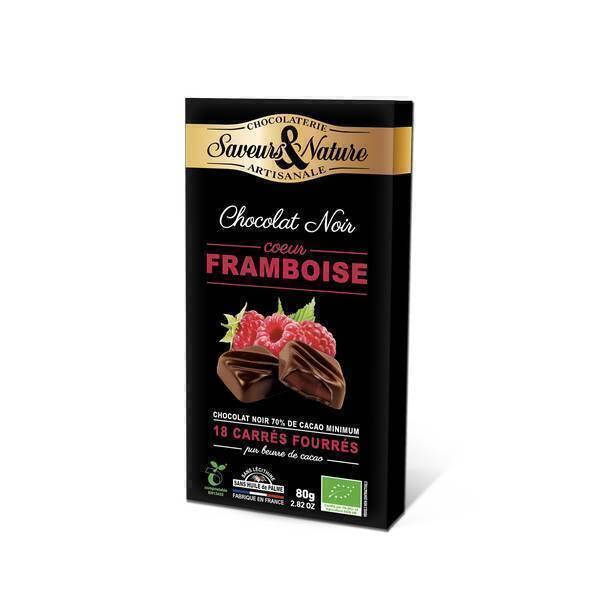 Saveurs & Nature - 18 Carrés fourrés framboise enrobés de chocolat noir 80g