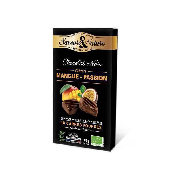 Saveurs & Nature - 18 Carrés fourrés mangue-passion enrobés de chocolat noir 80g