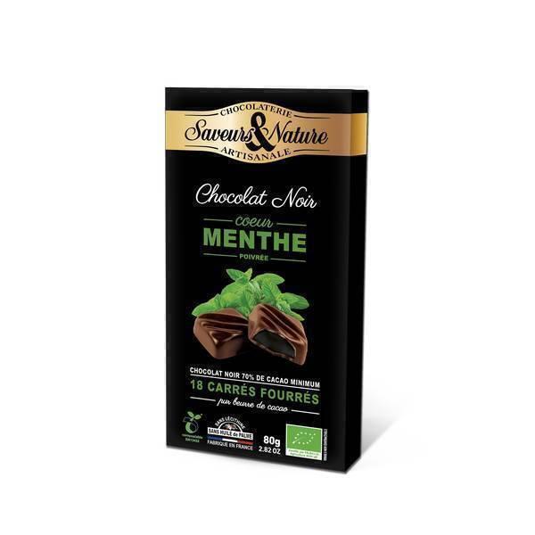 Saveurs & Nature - 18 Carrés fourrés menthe enrobés de chocolat noir 80g