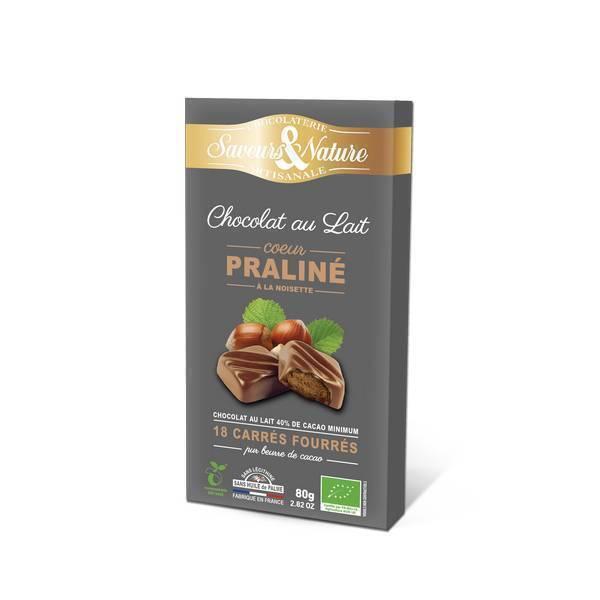 Saveurs & Nature - 18 Carrés fourrés praliné enrobés de chocolat noir 80g