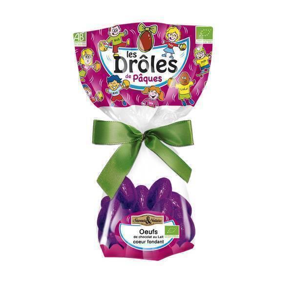 Saveurs & Nature - Petits oeufs chocolat au lait coeur fondant et croustillant 150g