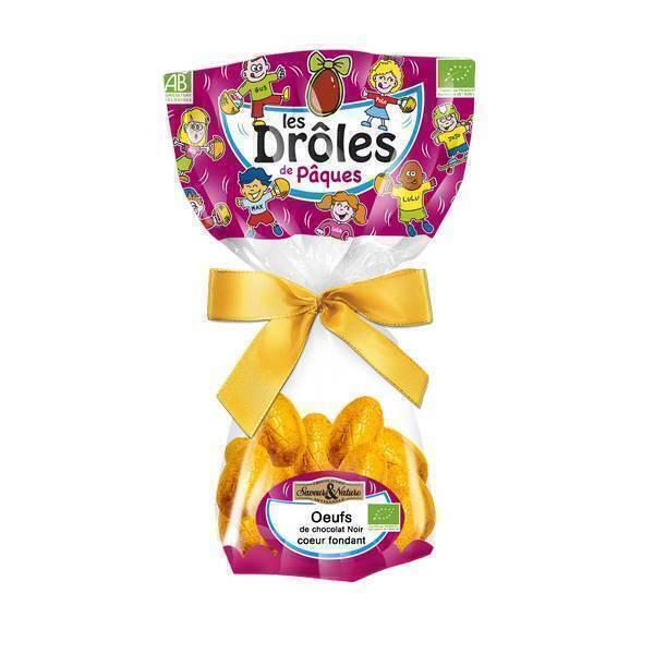 Saveurs & Nature - Petits oeufs chocolat noir coeur fondant et croustillant 150g