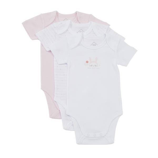 Tex Baby - 3 Bodies manches courtes - Rose Lapin - 3 à 36 mois