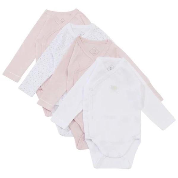 Tex Baby - 4 Bodies Croisés Manches Longues - Rose - 000 à 6 mois
