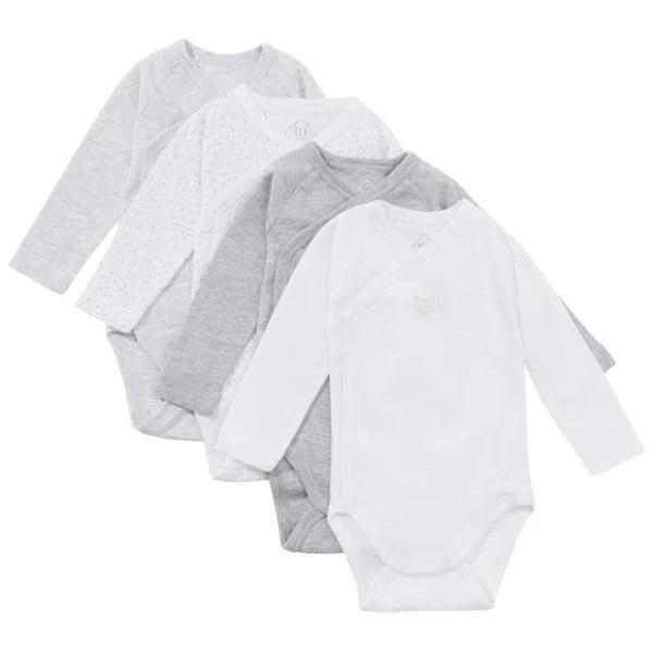 Tex Baby - 4 Bodies Manches longues - Gris Chiné - 0 à 6 mois