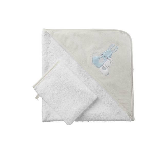 parure de bain beige lapins tex baby la r f rence bien tre bio b b. Black Bedroom Furniture Sets. Home Design Ideas