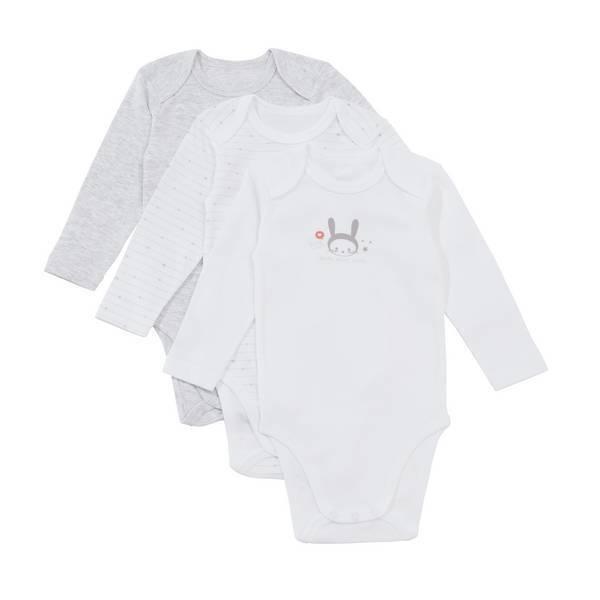 Tex Baby - 3 Bodies Manches Longues - Gris lapin - 3 à 36 mois