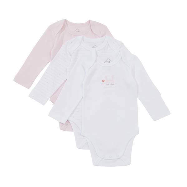 Tex Baby - 3 Bodies Manches Longues - Rose lapin - 3 à 36 mois