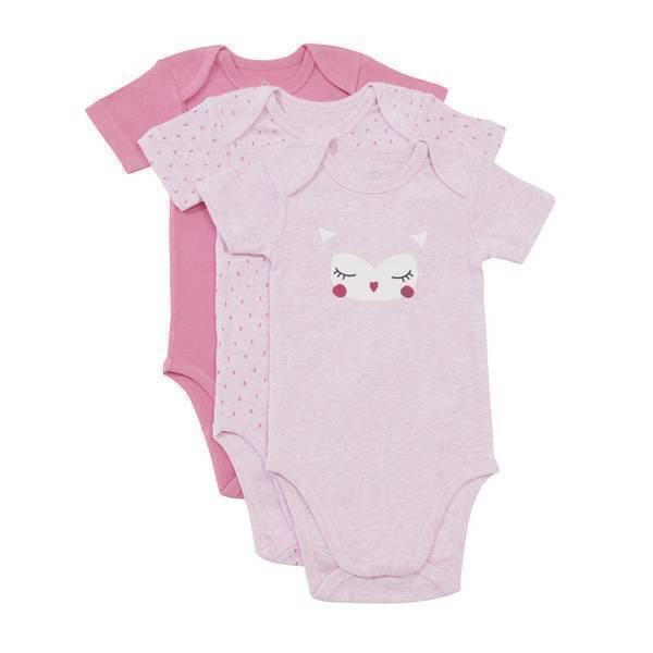 Tex Baby - 3 bodies Manches Courtes - Chouette - 3 à 36 mois