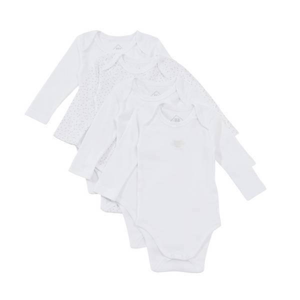Tex Baby - 4 Bodies Manches Longues - Blanc - 3 à 36 mois
