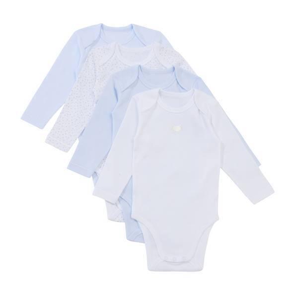 Tex Baby - 4 Bodies Manches Longues - Bleu - 3 à 36 mois
