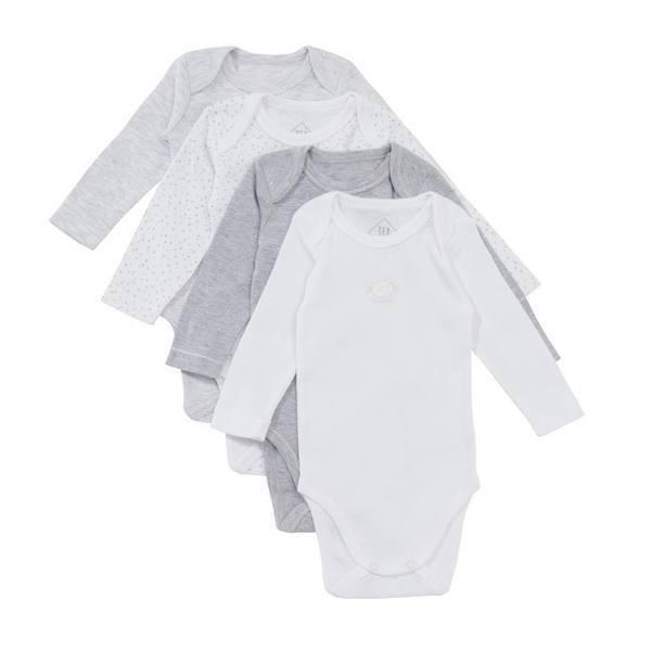 Tex Baby - 4 Bodies Manches Longues - Gris chiné - 3 à 36 mois