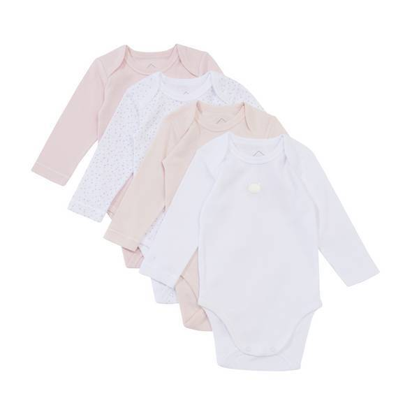 Tex Baby - 4 Bodies Manches Longues - Rose - 3 à 36 mois