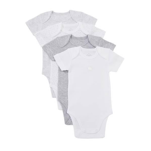 Tex Baby - 4 Bodies Manches Courtes - Gris - 3 à 36 mois