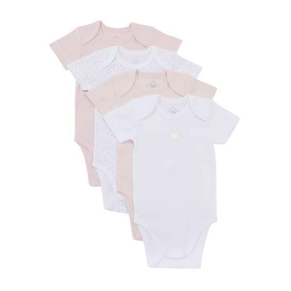 Tex Baby - 4 Bodies Manches Courtes - Rose - 3 à 36 mois