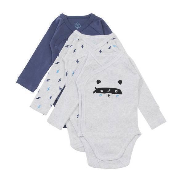 Tex Baby - 3 bodies Croisés Manches Longues - Panda héros - 0 à 6 mois