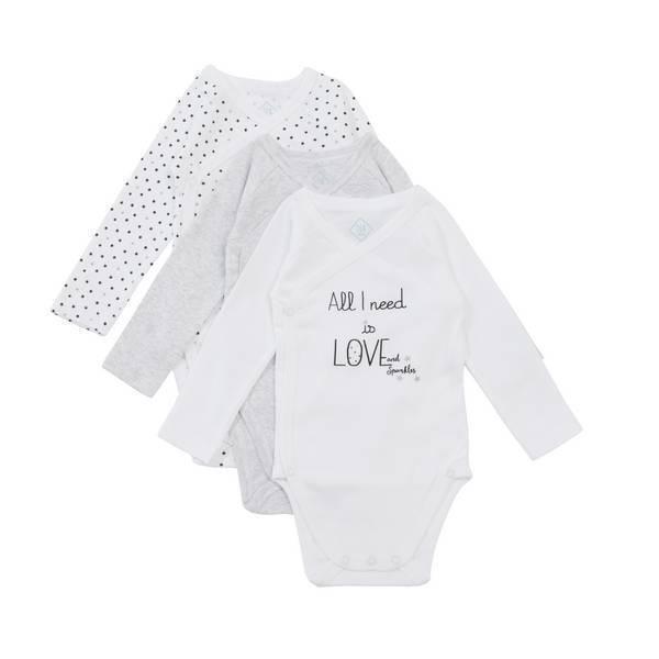 Tex Baby - 3 Bodies Croisés Manches Longues - Love - 0 à 6 mois