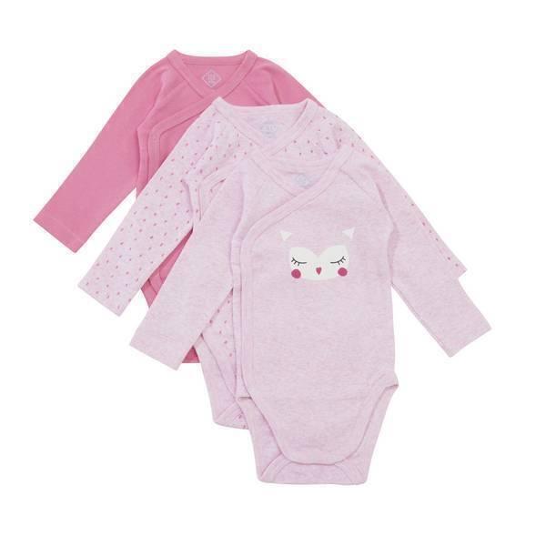 Tex Baby - 3 Bodies Croisés Manches Longues - Chouette - 0 à 6 mois