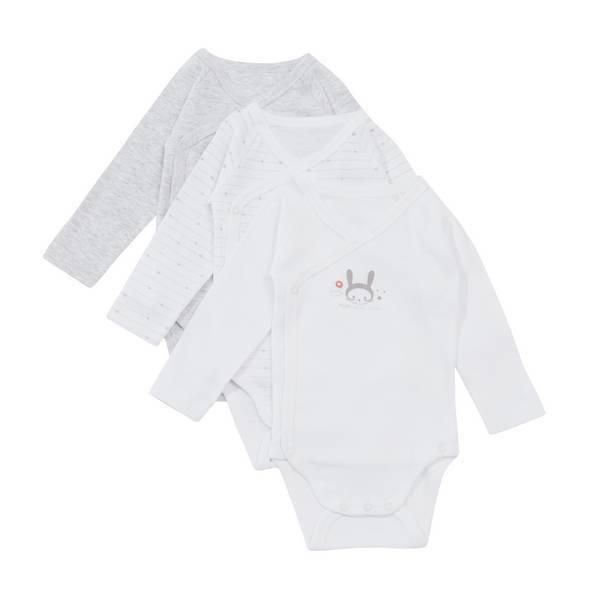 Tex Baby - 3 Bodies Croisés Manches Longues - Gris chiné Lapin - 0 à 6 mois