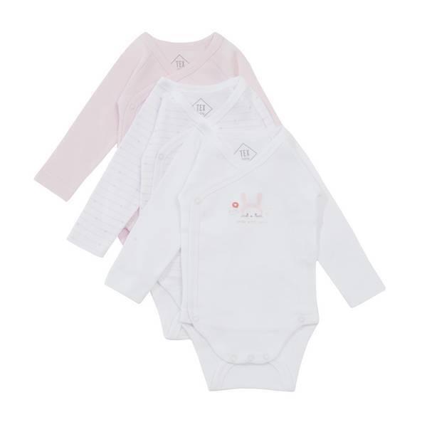 Tex Baby - 3 Bodies Croisés Manches Longues - Rose Lapin - 0 à 6 mois