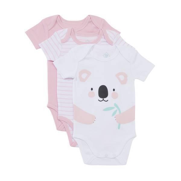 Tex Baby - 3 Bodies Manches courtes - Rose Koala - 3 à 36 mois