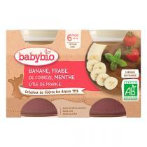 Babybio - Petits Pots Purée de Banane Fraise Menthe d'Ile de France 2x130g