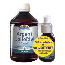 Biofloral - Lot Argent Colloïdal 20PPM 500mL + Flacon Spray 100mL OFFERT