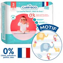 Carryboo - 26 Couches T3 (4-9kg) Dermo-Sensitives à Motifs