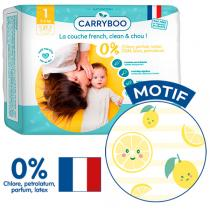 Carryboo - 27 Couches T1 (2-5kg) Dermo-Sensitives à Motifs