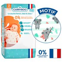Carryboo - 56 Couches T2 (3-6kg) Dermo-Sensitives à Motifs