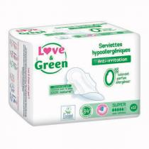 Love & Green - 12 Serviettes super hypoallergéniques 0%