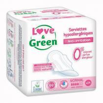 Love & Green - 14 Serviettes normales hypoallergéniques 0% ultra, avec ailettes