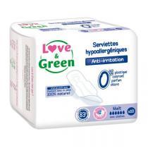 Love & Green - 10 Serviettes nuit hypoallergéniques 0%